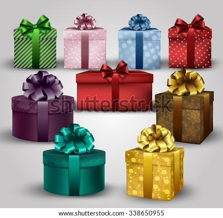 Illustration of set of colorful gift boxes with bows and ribbons background - stock photo