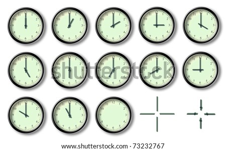 Illustration of several clock hours of the day - stock photo