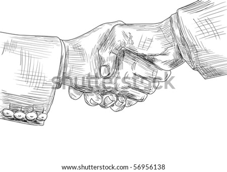 Illustration of shaking hands of business partners - stock photo