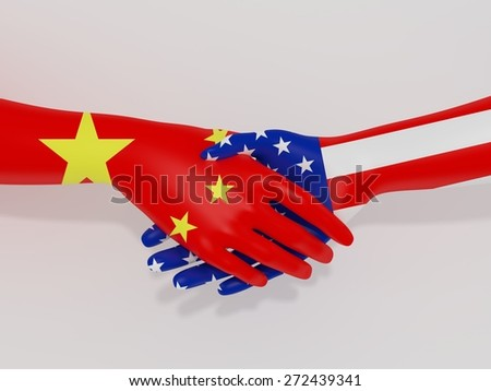 Illustration of shaking hands with China and America flags as textures - stock photo
