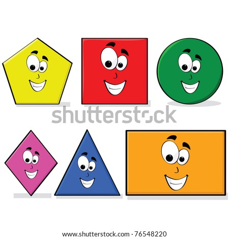 Illustration of shapes in different colors with a happy cartoon face, great for kids learning basic geometry - stock photo