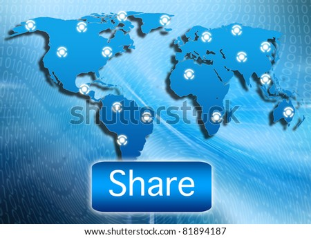 illustration of share button connecting with each other showing - stock photo