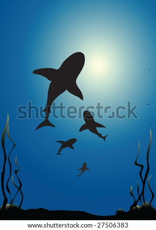 Illustration of sharks silhouetted against the surface of the sea - stock photo