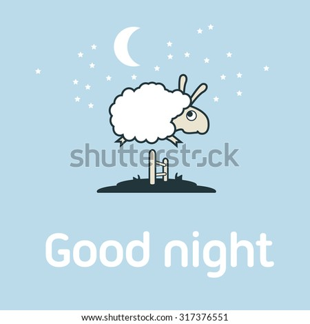 Illustration of Sheep jumping over the fence. Postcard elements concept. - stock photo