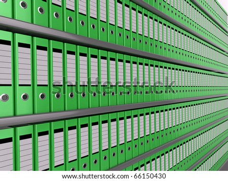 Illustration of shelves of neatly organised green files - stock photo
