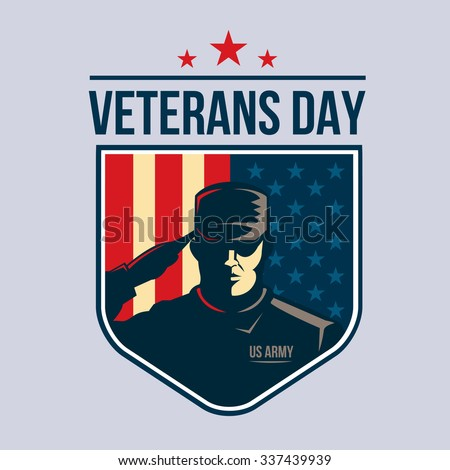 Illustration of Shield with Soldier saluting against USA Flag. Veterans Day - stock photo