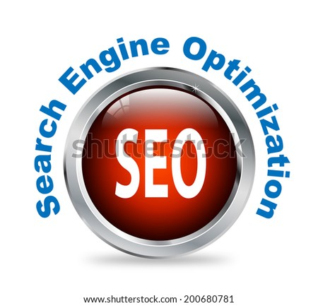 Illustration of shiny round glossy button of search engine optimization  - seo - stock photo