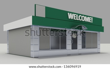 Illustration of shop - kiosk  exterior - stock photo