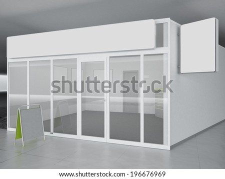 Illustration of shop - kiosk, interior and exterior - stock photo