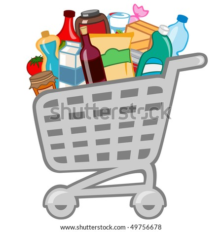 illustration of shopping cart full of different products. - stock photo