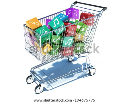 illustration of shopping cart with media boxes. Isolated on white background