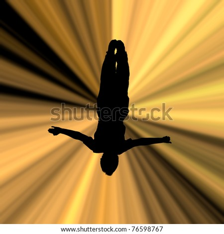 illustration of silhouette man in beams - stock photo