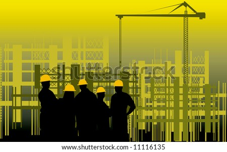Illustration of silhouette of group of men standing in a construction site