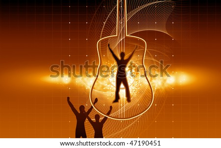 Illustration of silhouette of man on a guitar