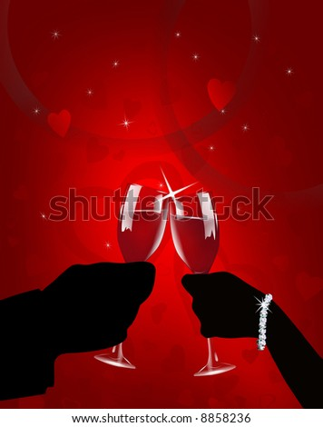 Illustration of silhouetted man and woman's hands holding wine glasses in romantic Valentine toast.  On gradient red background with hearts.