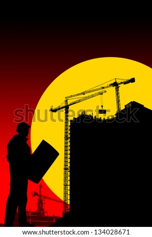 Illustration of silhouettes of buildings and working,construction of a house at night, silhouettes of workers - stock photo