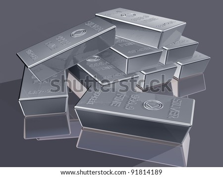 Illustration of silver reserves piled in a stack - stock photo