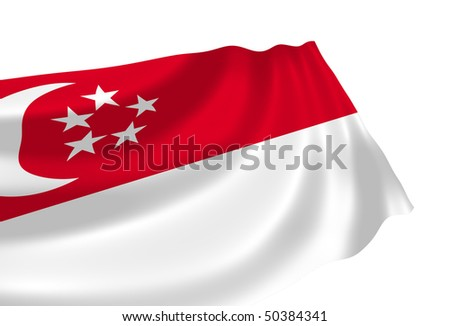 Illustration of Singapore flag waving in the wind