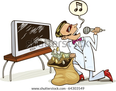 Illustration of singing Man who receive profit from copyrights