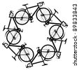 Illustration of six generic bicycle silhouettes joined in a hexagonal ring - stock photo