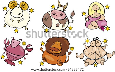 illustration of six overweight zodiac signs from april to september - stock photo