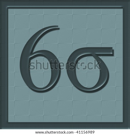 illustration of six sigma on green teal background - stock photo