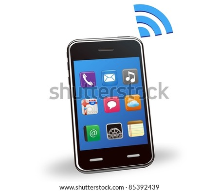 Illustration of smart phone wireless - stock photo
