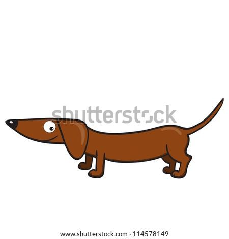 Illustration of smiling cute cartoon dachshund.Raster version. - stock photo