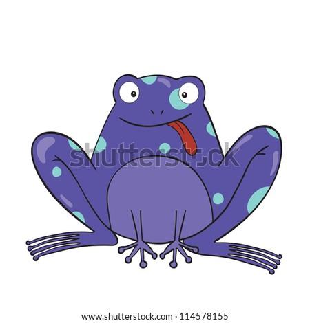 Illustration of smiling cute cartoon frog.Raster version. - stock photo