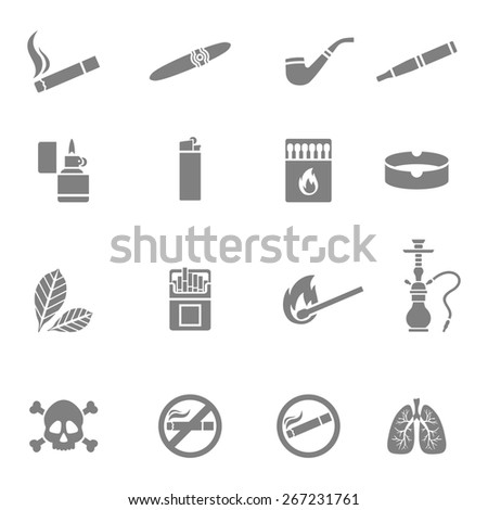 Illustration of smoking silhouette icons set - stock photo