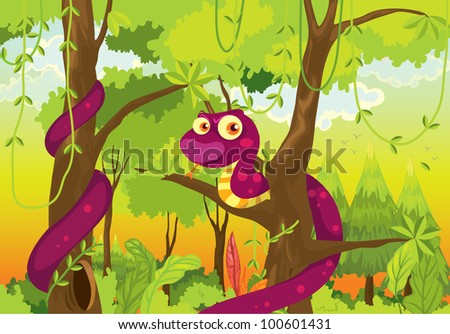 Illustration of snake in the jungle - EPS VECTOR format also available in my portfolio. - stock photo