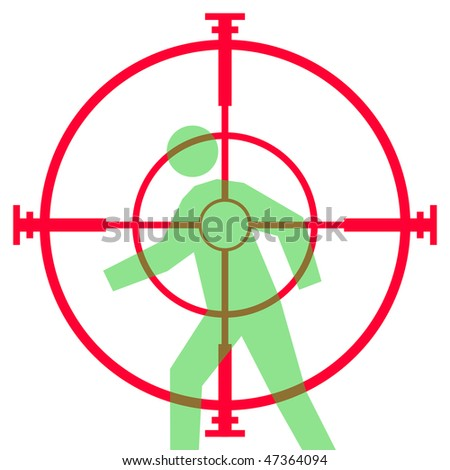 Illustration of sniper rifle sight or scope aiming at human target, isolated on white background. - stock photo
