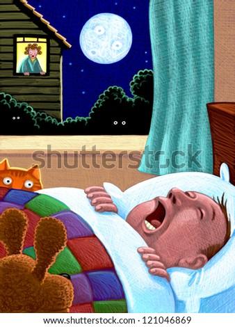 illustration of Snoring - stock photo