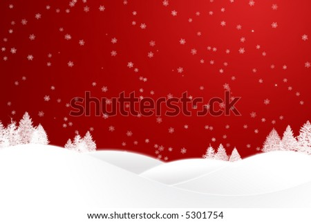 Illustration of snow-covered slopes with trees - stock photo