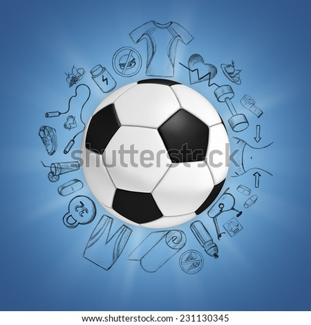 Illustration of soccer ball on blue background with sport sketches
