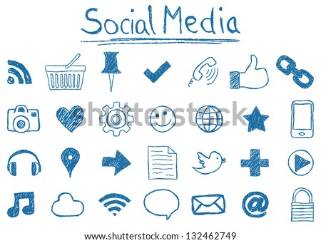Illustration of Social Media Icons, hand-drawn style - stock photo