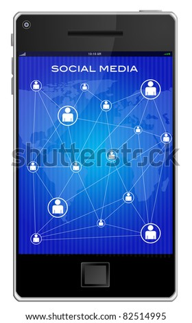 illustration of social media  mobile phones