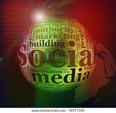 Illustration of social media wordcloud background - stock photo