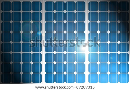 Illustration of solar panels pattern in a uniform formation with shaft of diagonal sunlight illuminating the centre. - stock photo