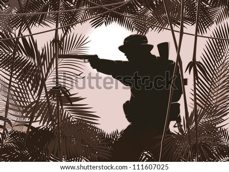 illustration of soldier in jungle forest. raster version 2 - stock photo