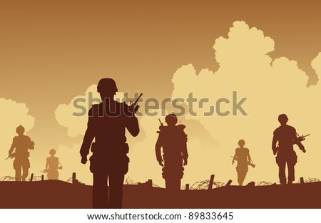 Illustration of soldiers walking on patrol - stock photo