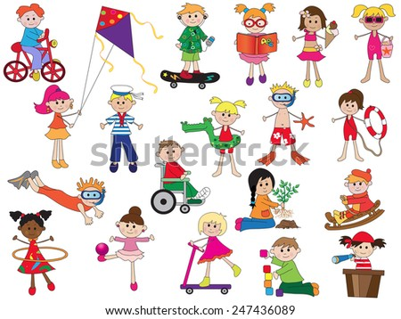 illustration of some children isolated - stock photo