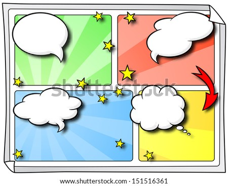 illustration of some comic frames as background with speech bubbles - stock photo