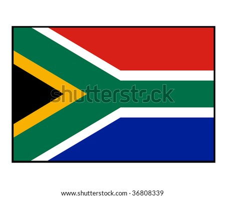 Illustration of South Africa flag, isolated on white background. - stock photo