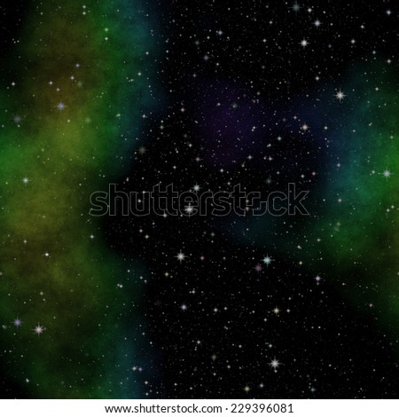 Illustration of space with stars and green nebula - stock photo