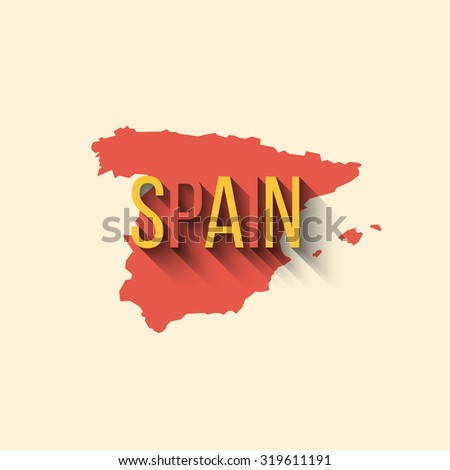 Illustration of spain map in flat design. Spanish border and country name with long shadow. - stock photo