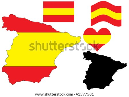 illustration of Spain map with flag and heart in national colors