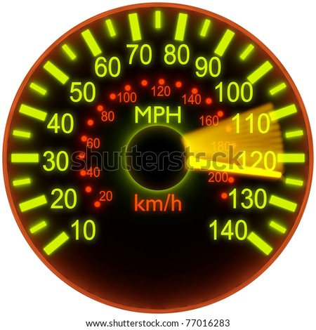 Illustration of speedometer with bright glow - stock photo