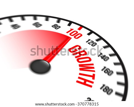 Illustration of speedometer with red arrow pointing to a hundred percent growth on white background