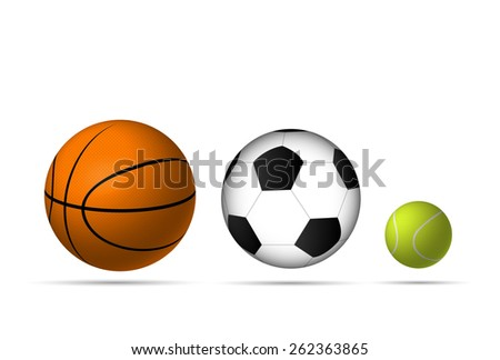 Illustration of sports balls isolated on a white background. - stock photo